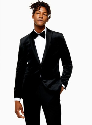 Topman Black Skinny Fit Single Breasted Velvet Blazer With Peak Lapels