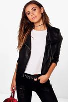 boohoo Petite Evie Oversized Collar PU Jacket black