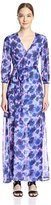 Gracia Women's Floral Print Maxi Wrap Dress