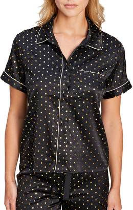 Morgan Lane Tami Star Print Satin Pajama Top