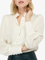 Monsoon Penny Button Front Blouse, Ivory