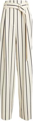 Proenza Schouler Belted Wide Leg Striped Pants