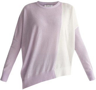 Paisie Knitted Two Tone Top With Asymmetric Hem In Lilac & White