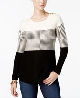 Charter Club Colorblocked Pleated-Back Sweater, Created for Macy's