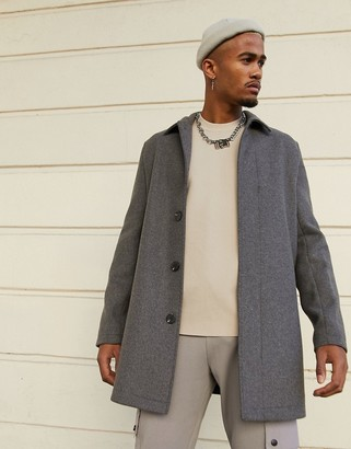 ASOS DESIGN wool mix coat in gray