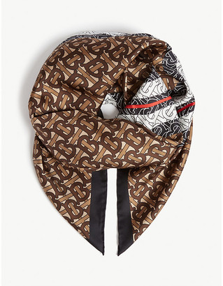 Burberry Monogram logo silk scarf