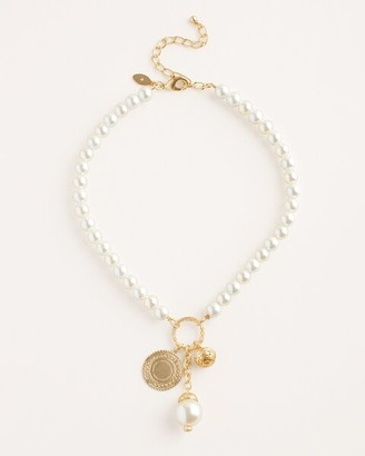 Chico's Short Goldtone and Faux-Pearl Pendant Necklace