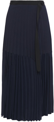 Sandro Valeke Belted Pleated Crepe De Chine Midi Wrap Skirt