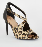 New Look Patent Leopard Print Cross Strap Heels