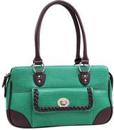 Dasein Mint Green & Coffee Matte Croc-Embossed Shoulder Bag
