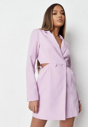 Missguided Lilac Cut Out Side Blazer Dress