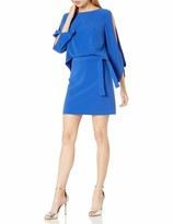 Halston Women's Long Slit Sleeve Crepe Dress