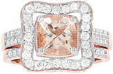 JCPenney MODERN BRIDE Blooming Bridal Genuine Cushion-Cut Morganite and Diamond 14K Rose Gold Bridal Ring Set
