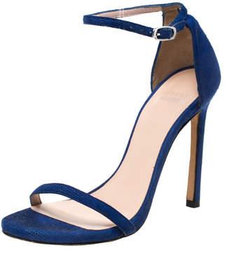 Stuart Weitzman Blue Suede Ankle Strap Open Toe Sandals Size 35.5