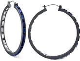 GUESS Hematite-Tone Blue Stone Hoop Earrings