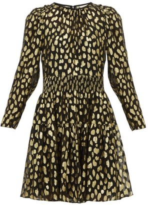Rebecca Taylor Fil-coupe Silk-blend Mini Dress - Black Gold