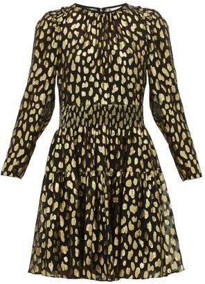 Rebecca Taylor Fil-coupe Silk-blend Mini Dress - Womens - Black Gold
