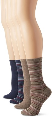 Peds Women's Light Brown and Denim Heather Solids and Stripes Ladies Dress Crew Socks 4 Pairs
