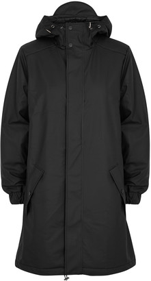 Rains Black matte rubberised raincoat
