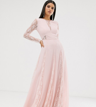 Asos Tall DESIGN Tall maxi dress with long sleeve and lace panelled bodice-Pink