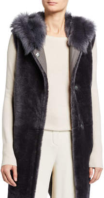 Gushlow and Cole Hooded Long Down Shearling Vest