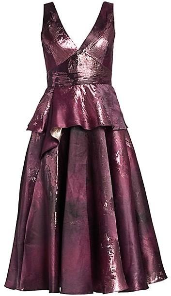 Marchesa Notte Metallic Jacquard Peplum Tea Gown