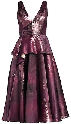 Marchesa Notte Metallic Jacquard Peplum Tea Gown