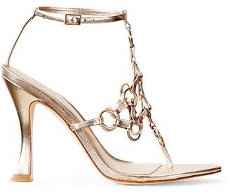 Cult Gaia Athena Ring-Embellished Metallic Leather Thong Sandals