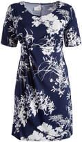 Glam Navy & White Floral Gathered Empire-Waist Dress - Plus