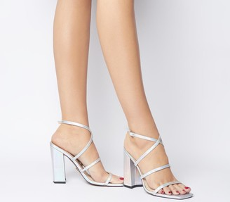 Office Hasty Iridescent Block Heels Silver Iridescent