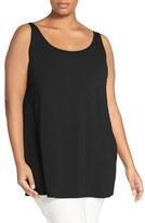 Eileen Fisher Plus Size Women's Lightweight Jersey Scoop Neck Long Tank
