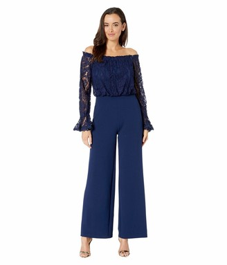 Adrianna Papell Women's LACE and Crepe Jumpsuit