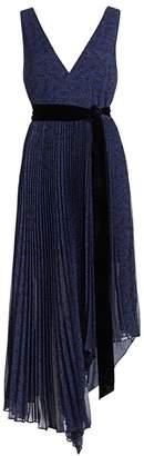 Alice + Olivia Aiden Asymmetrical Pleated Midi Dress