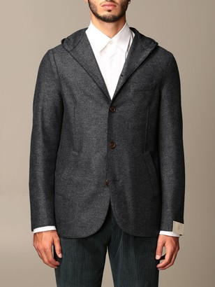 Eleventy Jacket In Boiled Wool With Hood