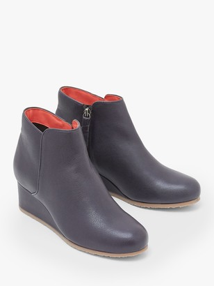 White Stuff Issy Leather Wedge Heel Ankle Boots, Dark Navy