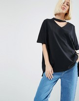 Asos Oversized T-Shirt With V-Cut Out Detail