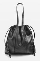 Topshop Leather Drawstring Shoulder Bag - Black