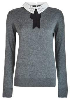 Dorothy Perkins Womens Grey Embellished Collar 2