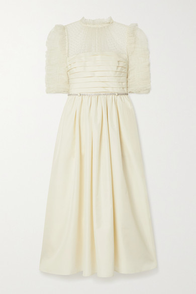 Self-Portrait Pleated Taffeta And Ruched Polka-dot Flocked Tulle Midi Dress - Ivory