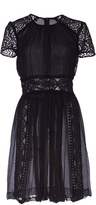 Burberry Silk Creponne and Panelled Lae Shift Dress