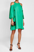 Halston Cold-Shoulder Dress with Ruffles