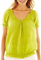 JCPenney St. John's Bay® Embroidered Peasant Top
