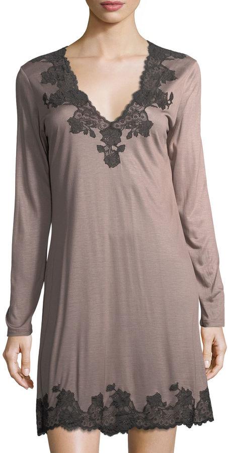 Josie Natori Charlize Lace-Trim Sleep Shirt