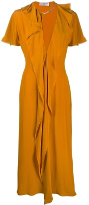 Victoria Beckham Fluted-Trim Plunge-Neck Midi Dress