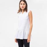 Paul Smith Women's White Pleated Cotton Peplum Top