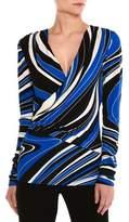 Emilio Pucci Wave-Print Long-Sleeve Wrap Top, Blue/Black