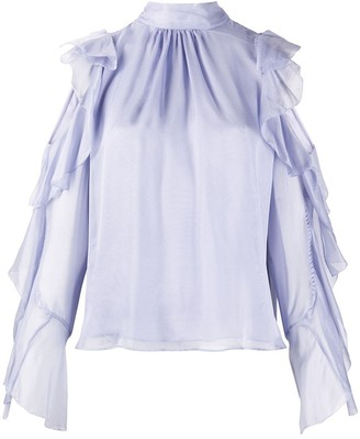 Temperley London Lovebird ruffled silk blouse