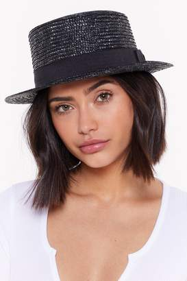 Nasty Gal Womens Bow Before The Queen Straw Boater Hat - Black - One Size, Black
