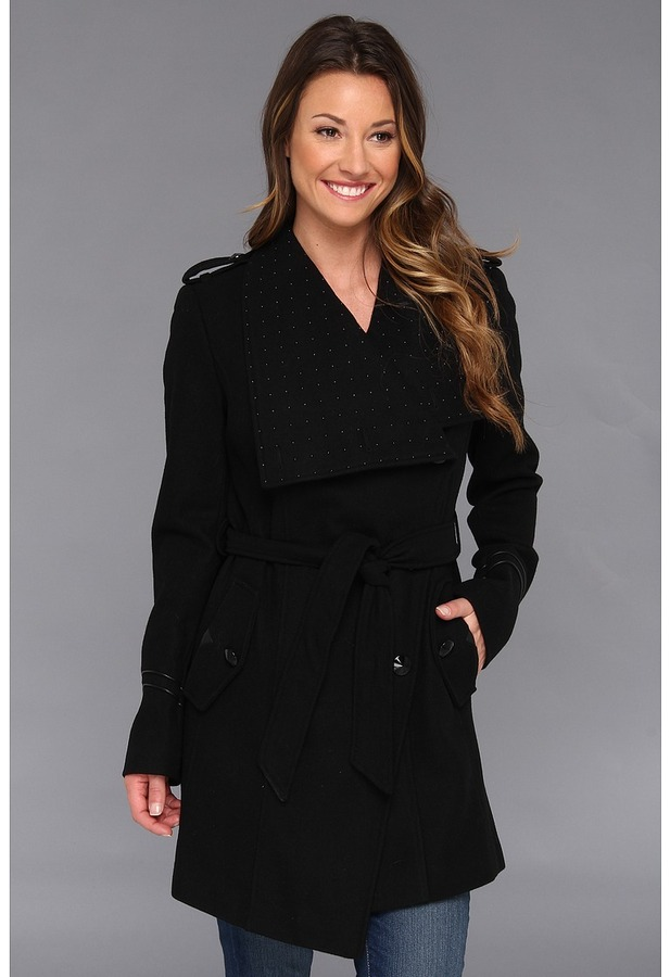 Sam Edelman Heat-Sealed Studded Wool Wrap Coat