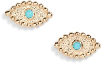 Anzie Dew Drop Turquoise Evil Eye Stud Earrings